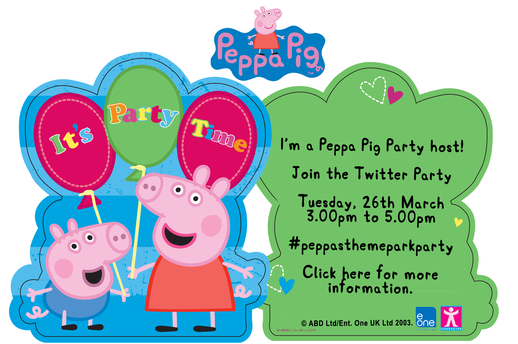 Peppa Pig Twitter Party Invite! #peppasthemeparkparty | Blog by Baby